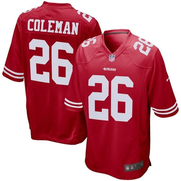 ナイキ メンズ シャツ トップス Tevin Coleman San Francisco 49ers Nike Game Jersey Scarlet