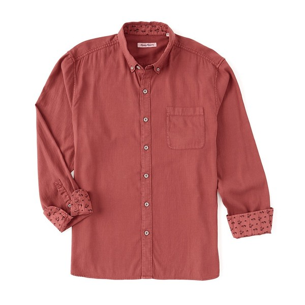 トッミーバハマ メンズ シャツ トップス Huntington Herringbone Stretch Long-Sleeve Woven Shirt Rhody Red