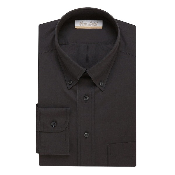 ランドツリーアンドヨーク メンズ シャツ トップス Gold Label Roundtree & Yorke Non-Iron Full-Fit Button-Down Collar Solid Dress Shirt Black