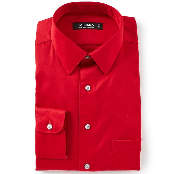 ムラノ メンズ シャツ トップス Slim-Fit Point-Collar Solid Sateen Dress Shirt Tango Red