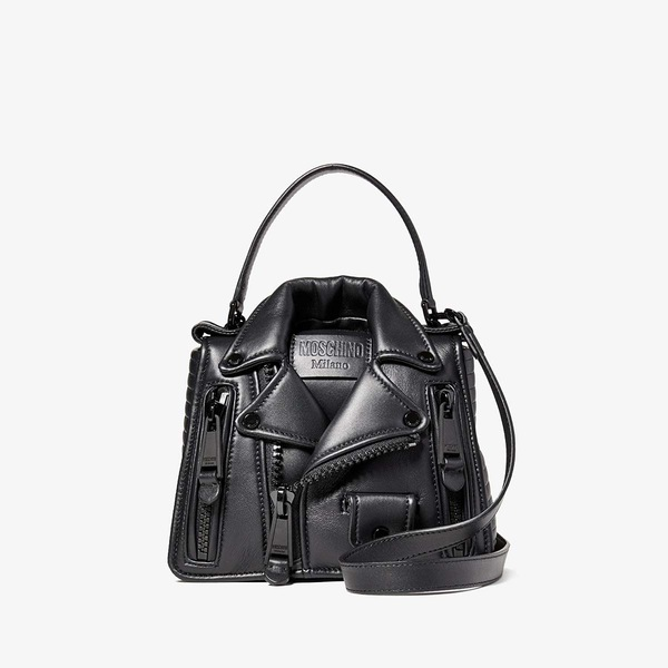 モスキーノ レディース ハンドバッグ バッグ Moto Jacket Handbag Black Multi