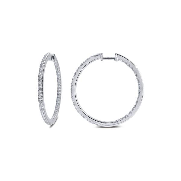 ピアス&イヤリング Pave Diamond ラフォン Earrings WHITE Stimulated Plated Silver レディース Hoop Platinum Sterling アクセサリー