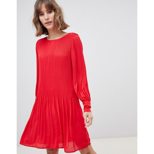 セレクティッド レディース ワンピース トップス Selected Femme long sleeve plisse smock mini dress in red True red