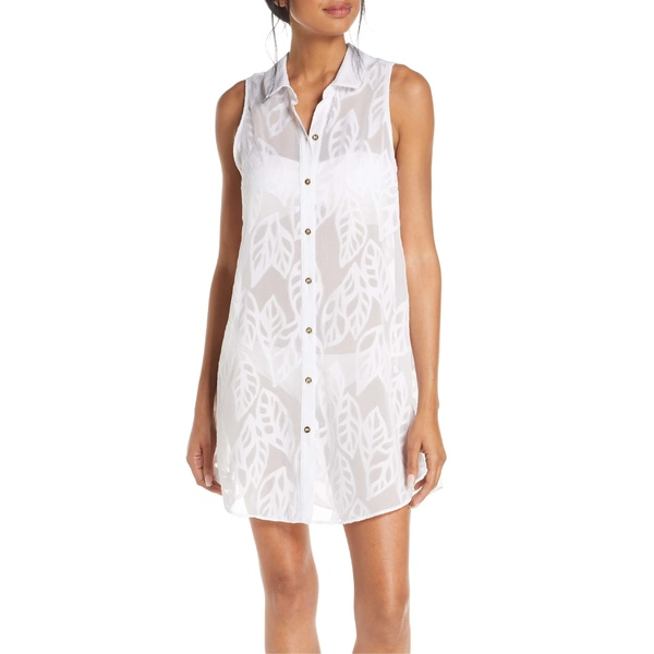 リリーピュリッツァー レディース ワンピース トップス Lilly Pulitzer Natalie Cover-Up Sleeveless Shirtdress Resort White Vertical