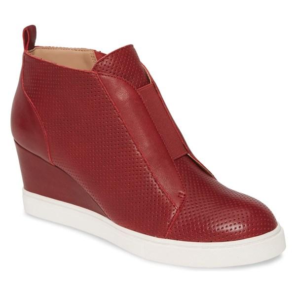 リネアパウロ レディース スニーカー シューズ Linea Paolo Felicia Wedge Bootie (Women) Burgundy Leather