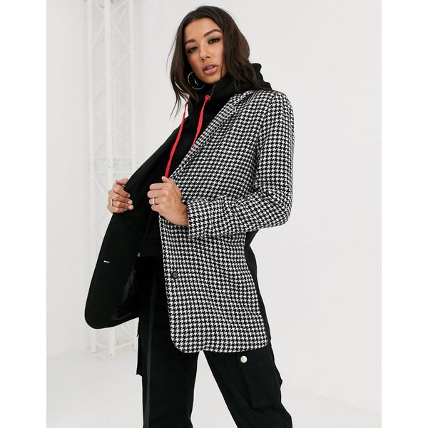 クチュールクラブ レディース ジャケット&ブルゾン アウター The Couture Club mixed check hooded crombie jacket in black Houndstooth Multi