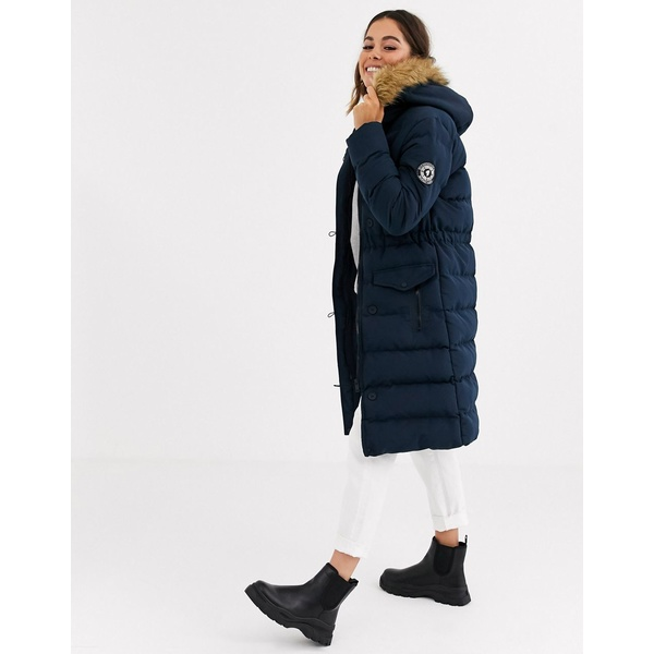ブレーブソウル レディース コート アウター Brave Soul whitehorse padded long jacket with faux fur trim hood Navy