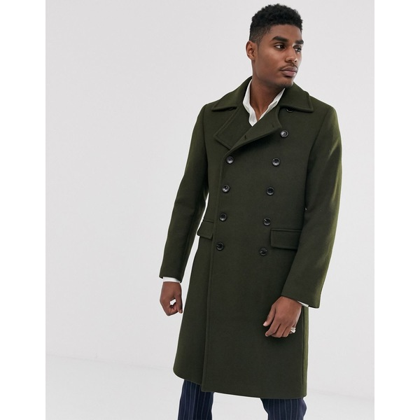 デヴィルズアドボケート メンズ コート アウター Devils Advocate premium wool blend oversized collar military jacket Green