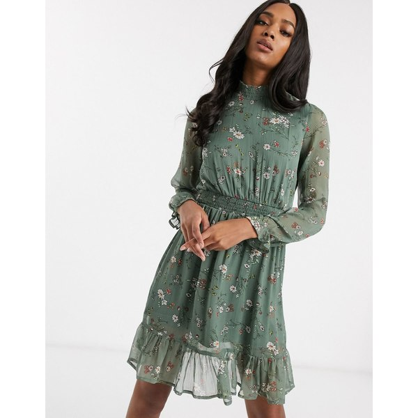 ヴェロモーダ レディース ワンピース トップス Vero Moda shift dress with high neck and ruffle hem in green floral Multi
