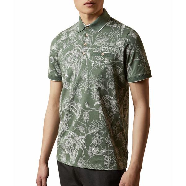 テッドベーカー メンズ シャツ トップス Teeleaf Short Sleeve Linear Floral Printed Polo Khaki