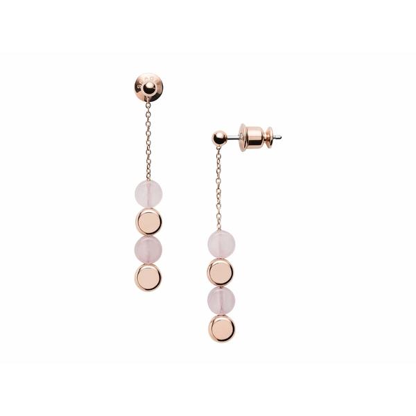 スカーゲン レディース ピアス&イヤリング アクセサリー Ellen Rose-Tone Stainless Steel Rose Quartz Earrings Rose Gold