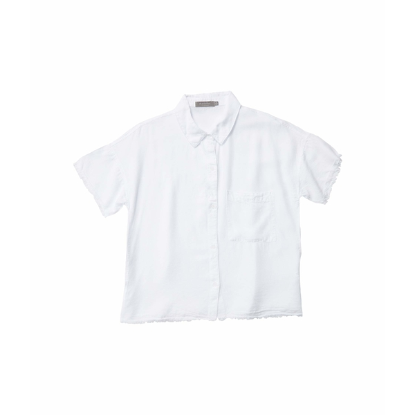 モッドドック レディース シャツ トップス Tencel Twill Short Sleeve Button Front Shirt with Frayed Hem White