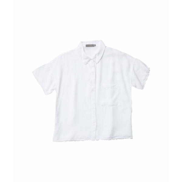 モッドドック レディース シャツ トップス Tencel Twill Short Sleeve Button Front Shirt with Frayed Hem White