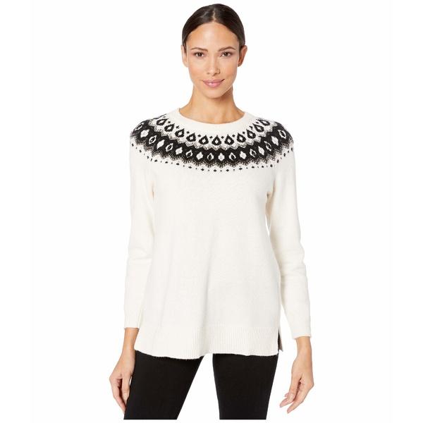ヴィンスカムート レディース ニット&セーター アウター Long Sleeve Embellished Yoke Jacquard Sweater Antique White