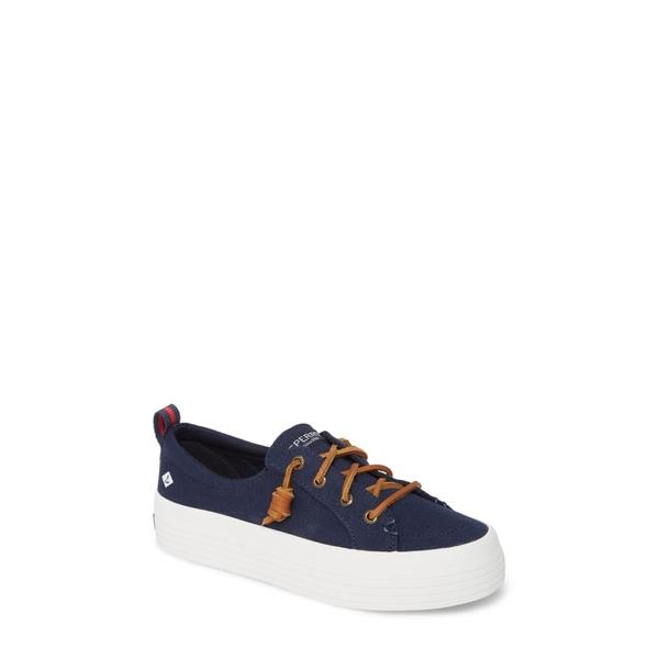 スペリー レディース スニーカー シューズ Crest Vibe Slip-On Platform Sneaker Navy Canvas