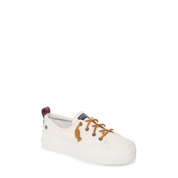スペリー レディース スニーカー シューズ Crest Vibe Slip-On Platform Sneaker White Canvas