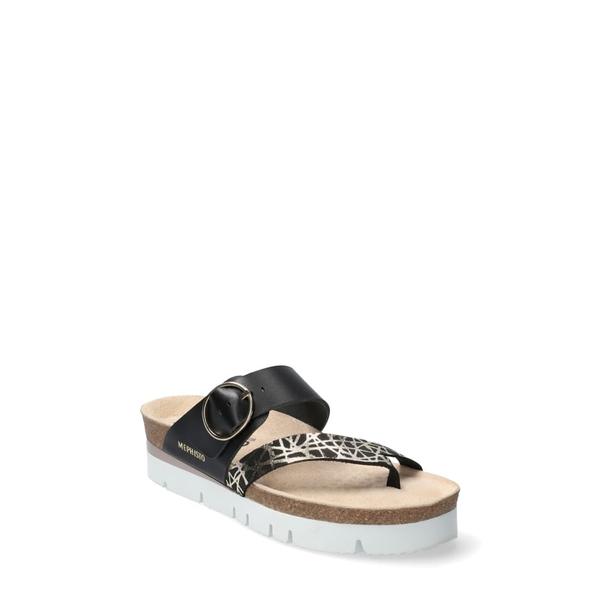メフィスト レディース サンダル シューズ Vik Slide Sandal Black Printed Leather