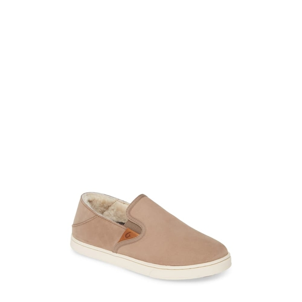 オルカイ レディース スニーカー シューズ Pehuea Heu Genuine Shearling Slip-On Sneaker Taupe Grey Leather