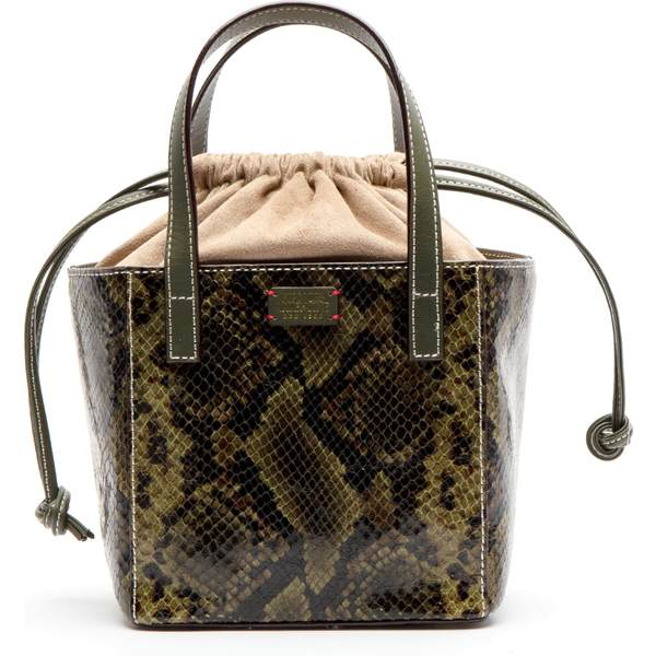 フランセスバレンタイン レディース ハンドバッグ バッグ Frances Valentine Moxy Snake Embossed Leather Tote Nat/ Olive
