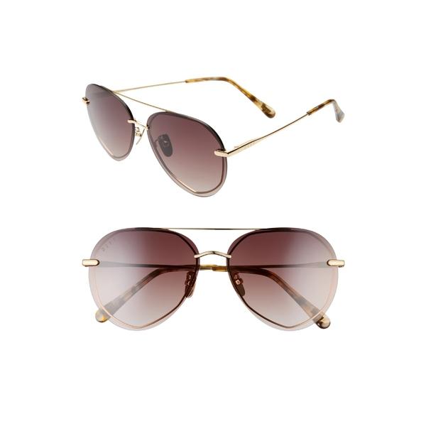 ディフ レディース サングラス&アイウェア アクセサリー DIFF Lenox 61mm Round Flat Front Aviator Sunglasses Gold/ Brown