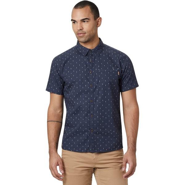 テンツリー メンズ シャツ トップス Cotton Short-Sleeve Button Up Shirt - Men's Dark Ocean Blue/Small Tree AOP