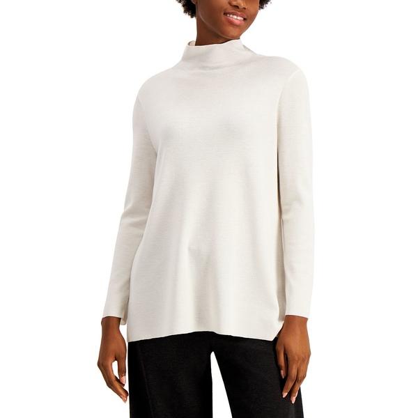 ニット&セーター Solid Asymmetrical Sweater Tunic エイリーンフィッシャー Ivory レディース アウター Mock-Neck