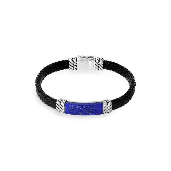 エフィー メンズ ネクタイ アクセサリー 925 Sterling Silver, Leather & Lapis Lazuli Bracelet Black Blue