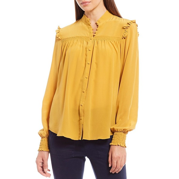 エーラブスエー レディース シャツ トップス Smocked Ruffle Detail Long Sleeve Silk Mock Neck Blouse Turmeric