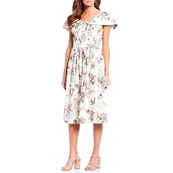 アントニオメラニー レディース ワンピース トップス Raj Poplin Floral Print A-Line Midi Dress Ivory/Canyon