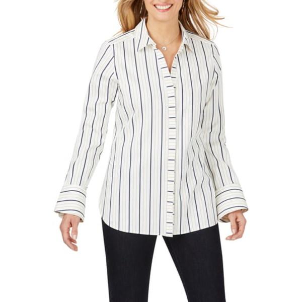 フォックスクラフト レディース シャツ トップス Kyla Stretch Non-Iron Sateen Stripe Shirt Birch