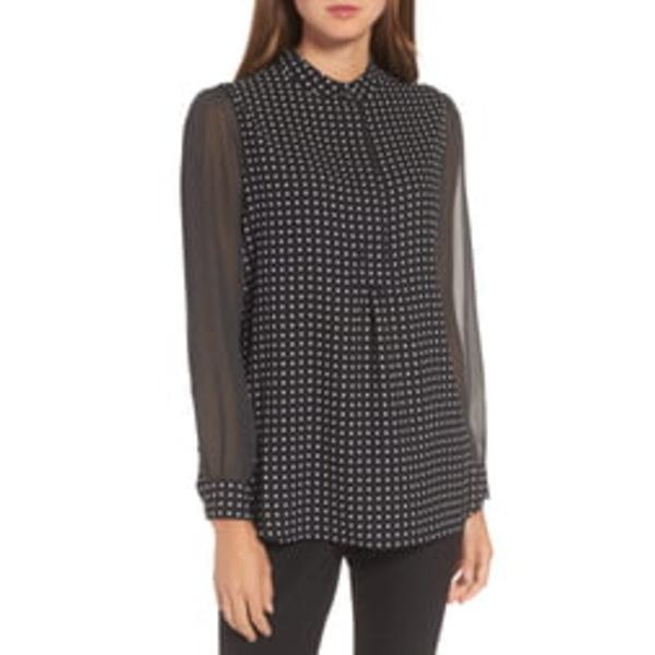 アンクライン レディース Tシャツ トップス Mixed Dot Print Blouse Black/ White