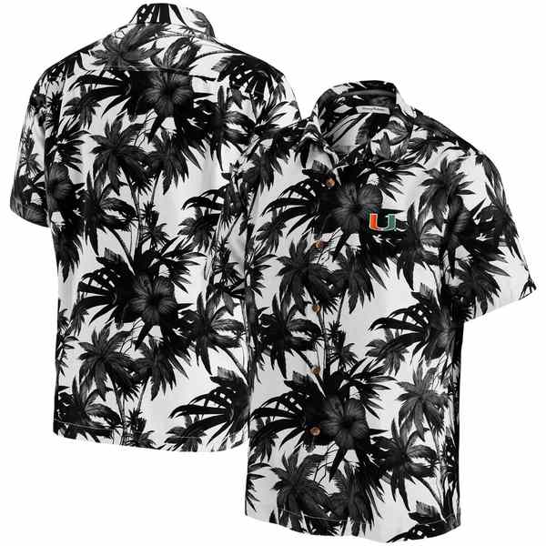 トッミーバハマ メンズ シャツ トップス Miami Hurricanes Tommy Bahama Harbor Island Hibiscus ButtonUp Shirt Black