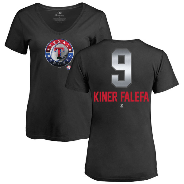 ファナティクス レディース Tシャツ トップス Texas Rangers Fanatics Branded Women's Personalized Midnight Mascot VNeck TShirt Black