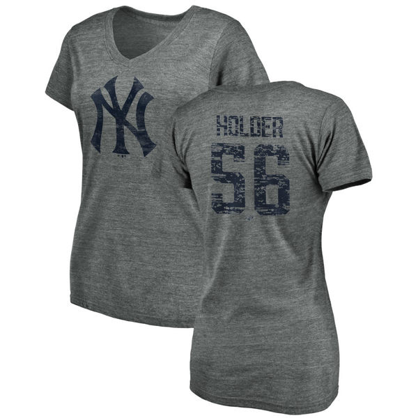 ファナティクス レディース Tシャツ トップス New York Yankees Fanatics Branded Women's Heritage Personalized TriBlend VNeck TShirt Heathered Gray