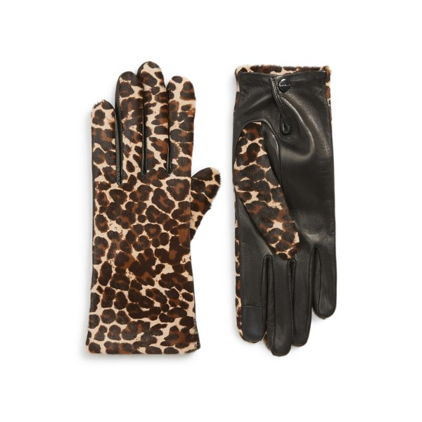 アニェル レディース 手袋 アクセサリー Agnelle Leopard Print Genuine Calf Hair & Lambskin Leather Gloves Black Tactile/ Panthere