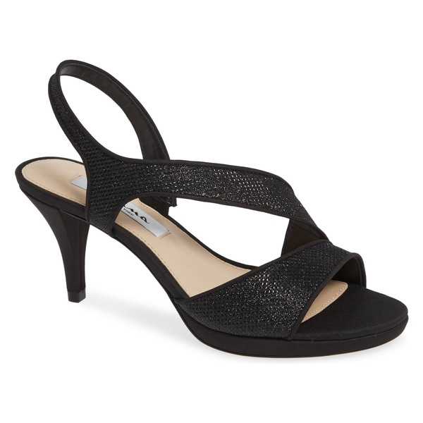 ニナ レディース サンダル シューズ Nina Nasreen Asymmetrical Sandal (Women) Black Fabric