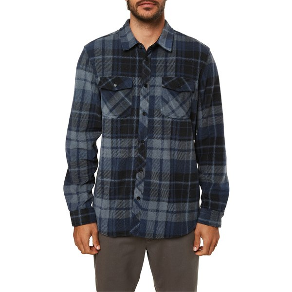 オニール メンズ シャツ トップス O'Neill Glacier Plaid Snap-Up Fleece Shirt Slate