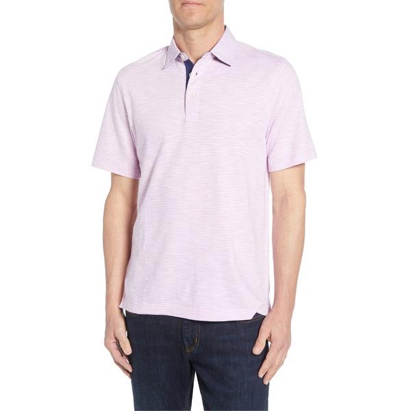 ブガッチ メンズ ポロシャツ トップス Bugatchi Slubbed Stripe Polo Pink