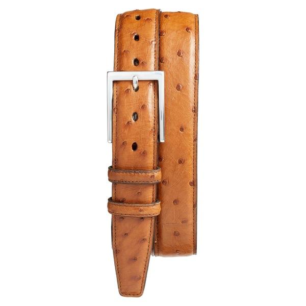 トリノ メンズ ベルト アクセサリー Torino Ostrich Leather Belt Saddle