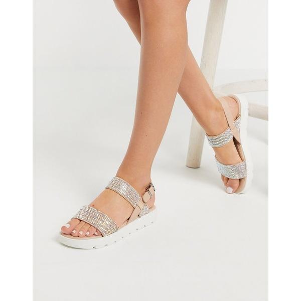 アルド レディース サンダル シューズ ALDO Dwylia chunky sole flat sandal in rhinestone Pastel multi