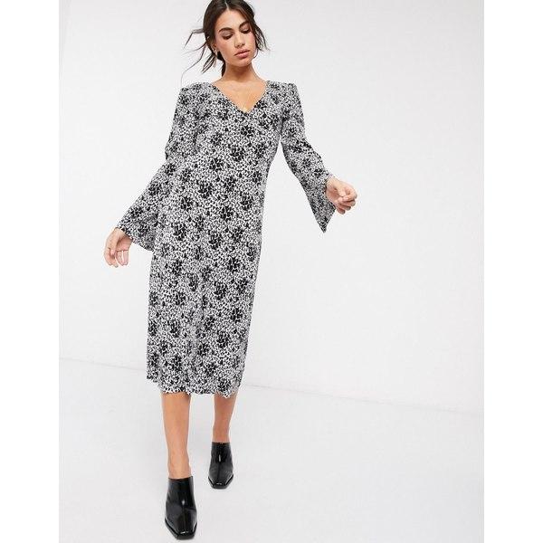 エイソス レディース ワンピース トップス ASOS DESIGN plisse midi dress with tie back in black and white floral print Mono