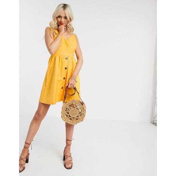 ジリ レディース ワンピース トップス Gilli button down sun dress in yellow Yellow