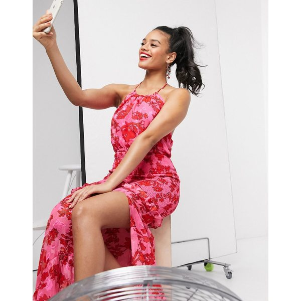 ダークピンク レディース ワンピース トップス Dark Pink high neck shirred maxi dress in bright floral Bright floral