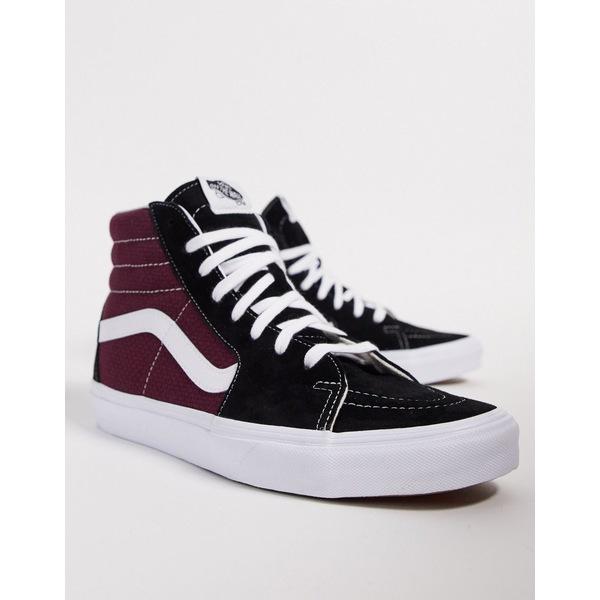 バンズ メンズ スニーカー シューズ Vans SK8-Hi sneaker in black/burgundy Pc black/port royale