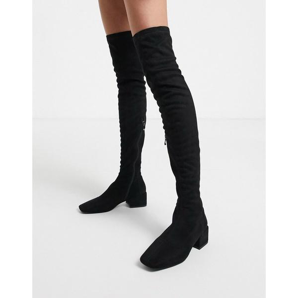 シミシューズ レディース ブーツ&レインブーツ シューズ Simmi London Lacey over the knee boots in black Black