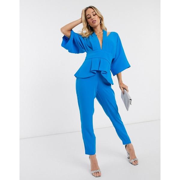 ラビッシュアリス レディース ワンピース トップス Lavish Alice cut-out kimono sleeve tailored jumpsuit in blue Azure blue