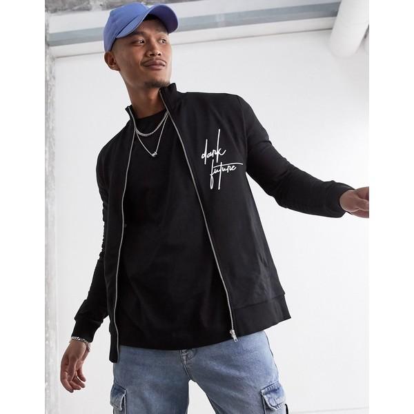 エイソス メンズ ジャケット&ブルゾン アウター ASOS x Dark Future muscle track jacket Black