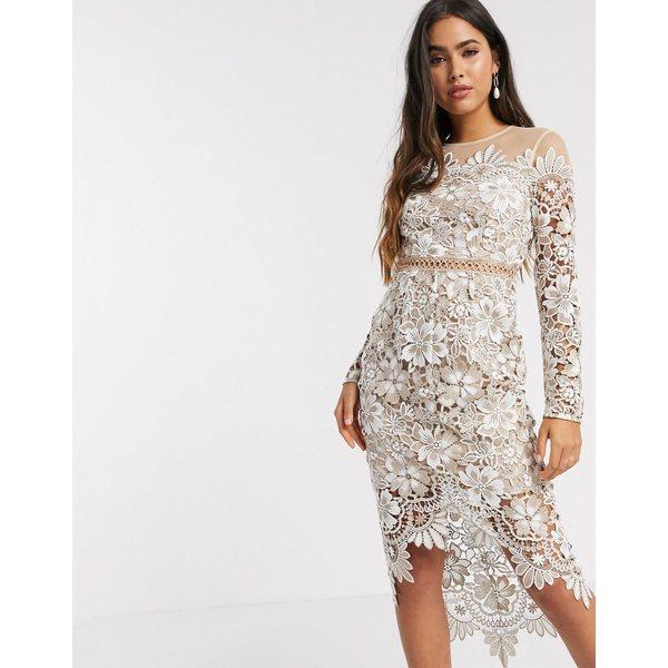 エイソス レディース ワンピース トップス ASOS DESIGN embroidered floral midi dress with circle trim Cream