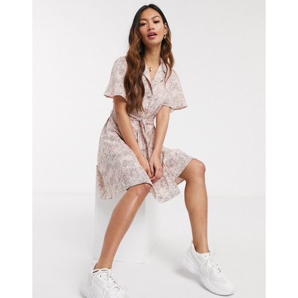 ピーシーズ レディース ワンピース トップス Pieces mini shirt dress in pink smudge print Multi