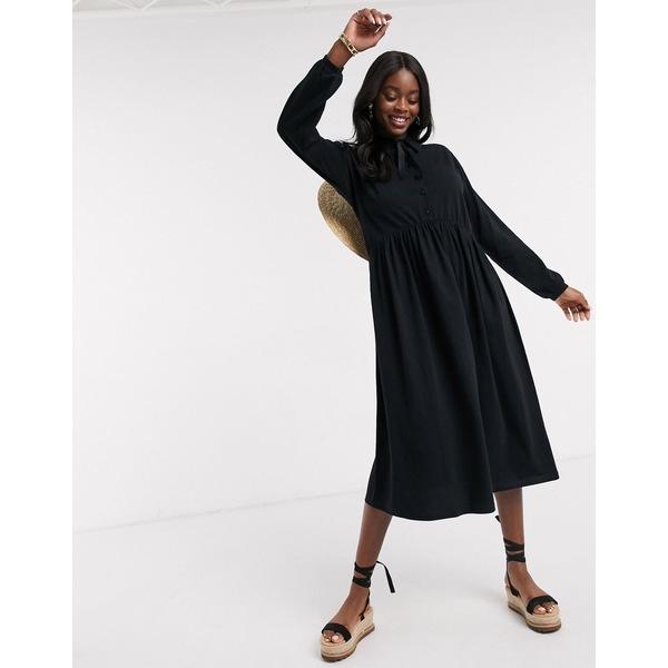 エイソス レディース ワンピース トップス ASOS DESIGN midi shirt smock dress with tiering and puff sleeve in black Black
